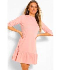 loshangende jurk met losvallende zoom en driekwartsmouwen, poederroze