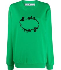 off-white logo-embroidered relaxed-fit sweatshirt - green