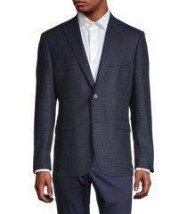 saks fifth avenue men's standard-fit checkered wool & cashmere-blend blazer - navy - size 42 s