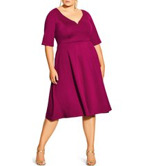plus size women's city chic cute girl sweetheart neck fit & flare dress