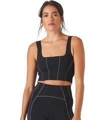 glyder women's corseted yoga sports bra - black/white x-small nylon/elastane