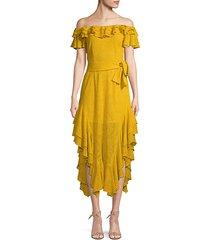 sofia off-the-shoulder embroidered silk dress