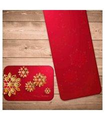 jogo americano com caminho de mesa flor geométrica natalina kit com 2 pçs + 2 trilhos