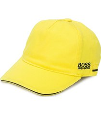 boss kidswear embroidered logo cotton cap - yellow