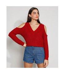blusa de tricô feminina manga longa open shoulder canelada decote v vermelha
