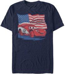 disney pixar men's cars lightning mcqueen distressed flag short sleeve t-shirt