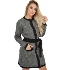 casaco sobretudo trico zipper mousse faixa mescla livora