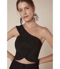 top tricot um ombro preto c/ lurex