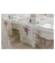 caminho de mesa bordado decoração 40x140cm branco e lilas