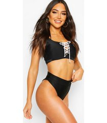 mix & match fuller bust lace up crop top, black