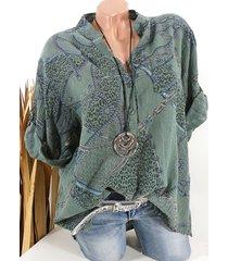 camicetta casual con bottoni a maniche lunghe con stampa etnica