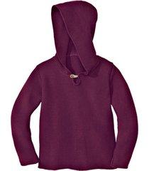 gebreide pullover met capuchon van bio-katoen, wild berry 134/140