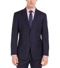 tommy hilfiger men's modern-fit thflex stretch navy pinstripe suit jacket