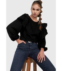 blusa negro desigual
