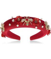 thalia sodi gold-tone bee & imitation pearl red-wrapped headband, created for macy's
