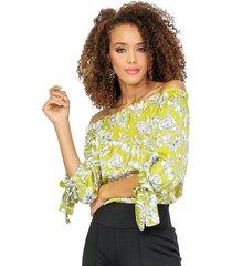 blusa off shoulders en seda con puños de anudar pistacho unipunto 32328