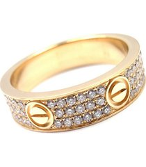 cartier 18k yellow gold pave diamond wedding anniversary women love band ring