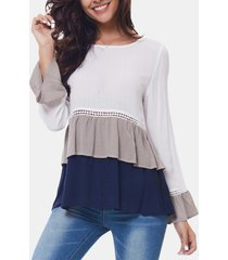 camicette con patchwork plissè moda per donna