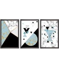 conjunto kit 3 quadro oppen house s 60x120cm escandinavo loen com vidro e moldura preta      quadro oppen house s decorativos