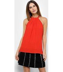 blusa forum alça bordada feminina