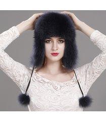 new women winter trapper hat genuine fox raccoon fur russian ushanka hat