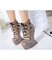 ps329 cutie lace up alien wedge sandals, leopard skin grain, us size 4-9, yellow