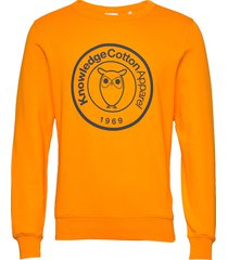 elm big owl print sweat - gots/vega sweat-shirt trui geel knowledge cotton apparel