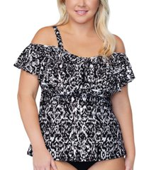 raisins curve trendy plus size tortuga incas flounce tankini top women's swimsuit