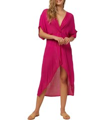 women's o'neill saltwater twist cover-up tunic dress, size large - pink