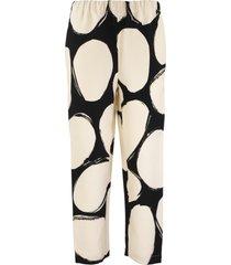 marni pebbles print cady trousers with elasticized waist