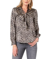 women's liverpool leopard print tie neck sateen blouse