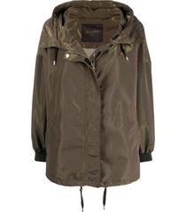moorer hooded spread-collar zip jacket - green