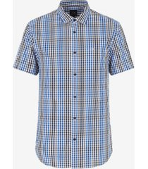 ax armani exchange men's short sleeve plaid woven shirt