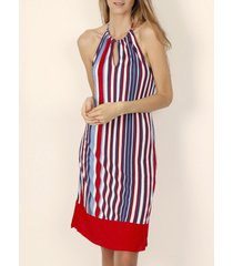 korte jurk admas elegante stripes rode zomerhalsterjurk van