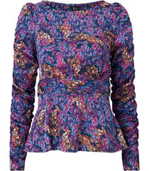blus vmamber l/s boatneck rouching top