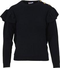 red valentino ruffled knit sweater