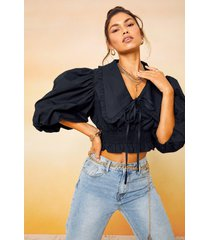 oversized collar cotton shirred blouse