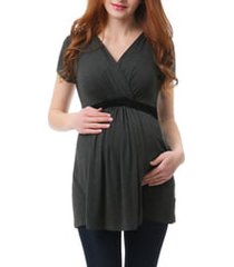 women's kimi and kai jasmine belted maternity/nursing surplice top, size x-small - grey
