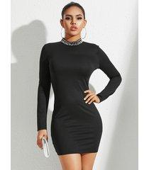 yoins sin respaldo negro diseño detalles hechos a mano con cuentas vestido