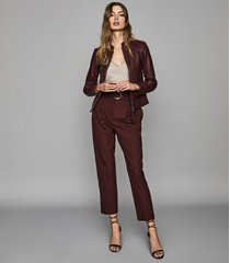 reiss allie - leather collarless biker jacket in pomegranate, womens, size 10
