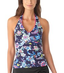 anne cole holiday paisley shirred halter tankini top women's swimsuit