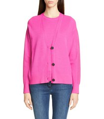 women's st. john collection placed pattern button cardigan, size medium - pink