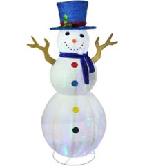 "northlight 72"" pre-lit led multi-color embossed snowman with top hat christmas outdoor decoration"