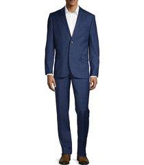 ben sherman men's 2-piece slim fit windowpane check stretch wool-blend suit - navy - size 40 s
