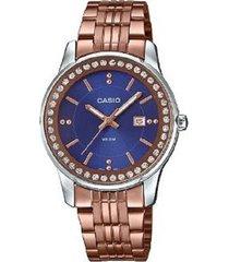 reloj casio ltp-1358r-2a análogo oro rosa para mujer