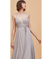 pale grey low side strappy backless wrap dress