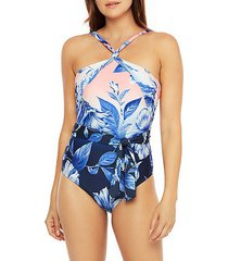 ombre floral one-piece swimsuit