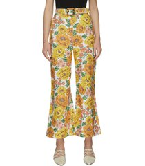 poppy' floral print flare leg pants