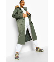 parka jas met faux fur zoom en zak detail, khaki