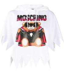 moschino bat teddy print hoodie - white